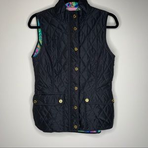 Lilly Pulitzer Black Getaway Quilted Vest Size S